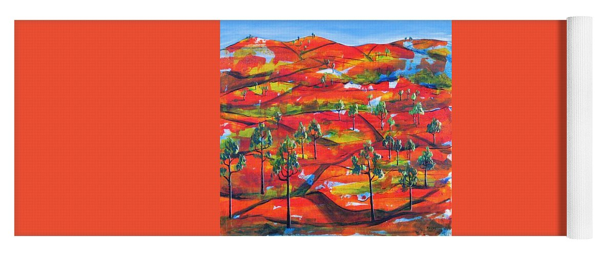 Landscape Yoga Mat featuring the painting Where The Road Goes   by Rollin Kocsis