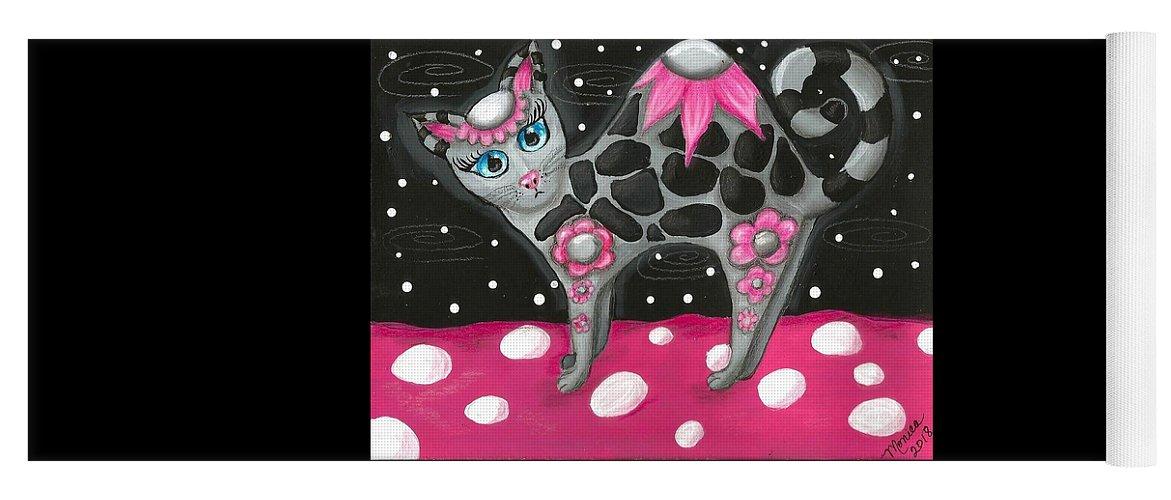 Pink Black Whimsical Kitty Cat Polka Dot Grey Blue Eyes Painting Colorful Vibrant Fun Yoga Mat featuring the painting Whimsical Black Pink Floral Kitty Cat by Monica Resinger