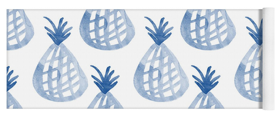 Pineapple Yoga Mat featuring the mixed media White And Blue Pineapple Party by Linda Woods