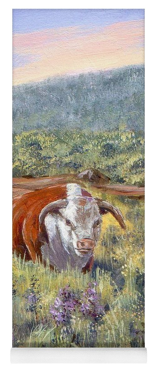 Hereford Bull Yoga Mat featuring the painting White Face Bull by Peggy Conyers