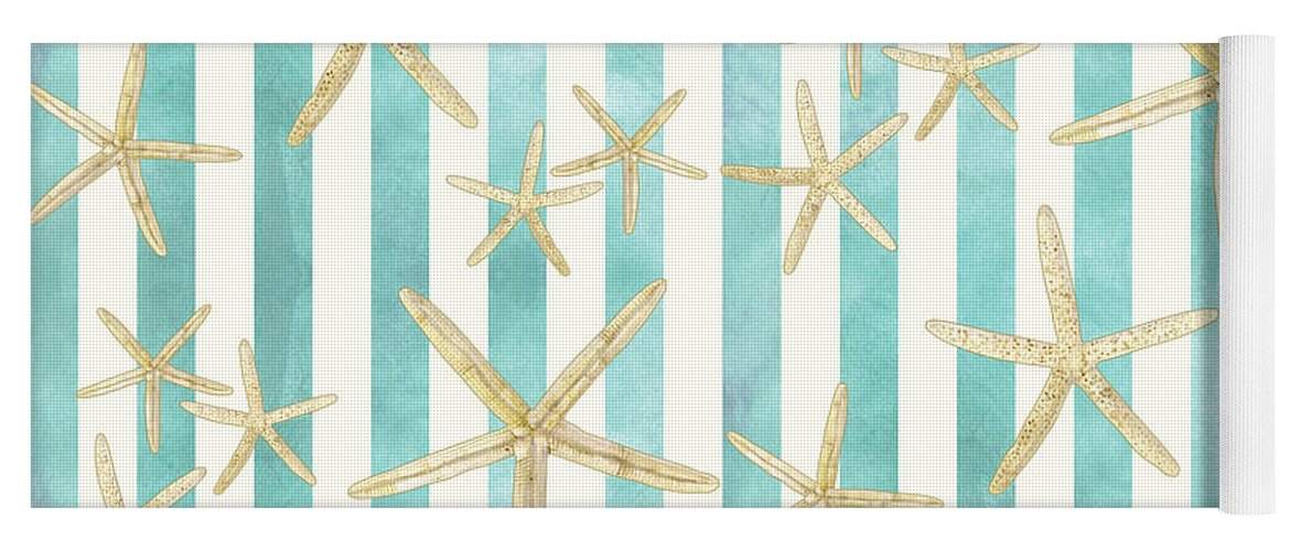 Watercolor Yoga Mat featuring the painting White Finger Starfish Watercolor Stripe Pattern by Audrey Jeanne Roberts
