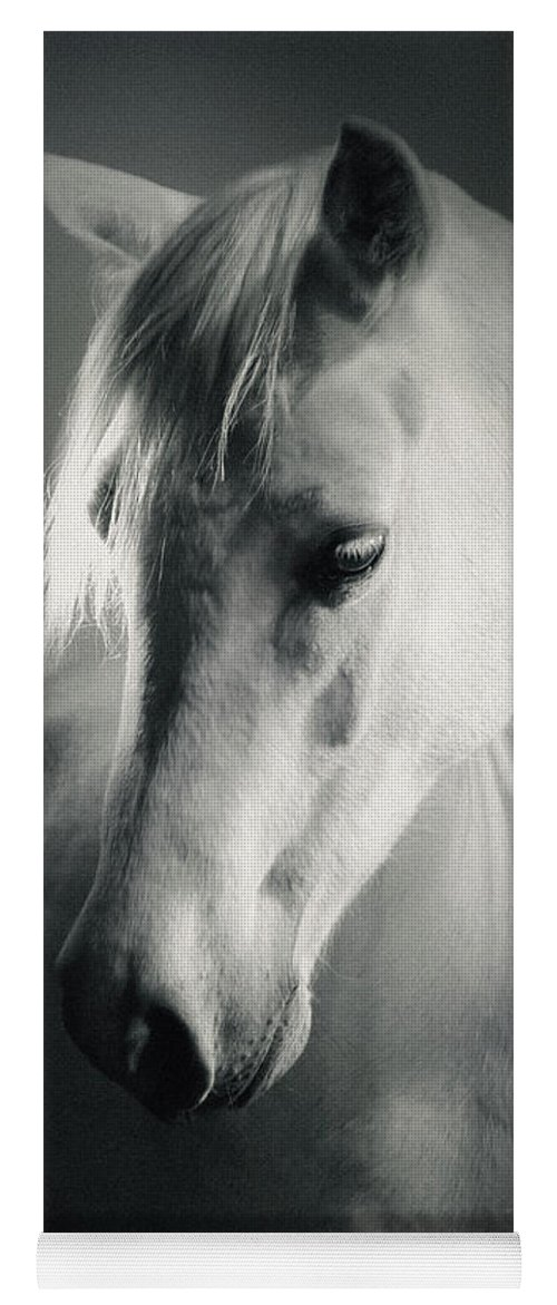 52147ff087d Horse Yoga Mat featuring the photograph White Horse Head Art Portrait by Dimitar  Hristov