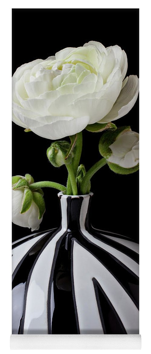 White Yoga Mat featuring the photograph White Ranunculus In Black And White Vase by Garry Gay
