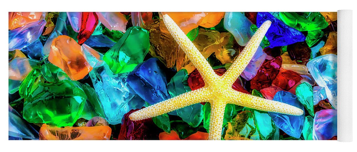 Colorfull Yoga Mat featuring the photograph White Starfish On Sea Glass by Garry Gay