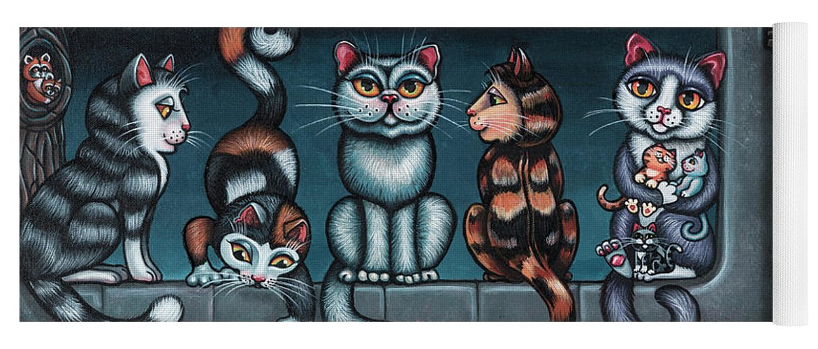 Cats Yoga Mat featuring the painting Whos Your Daddy Cat Painting by Victoria De Almeida