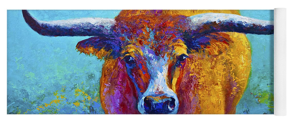 Western Paintings Yoga Mat featuring the painting Widespread - Texas Longhorn by Marion Rose
