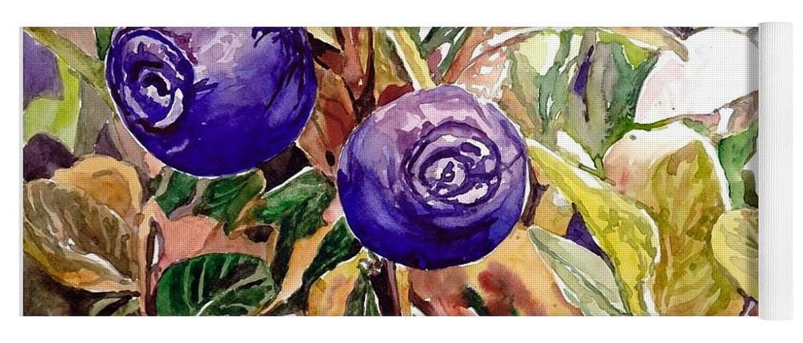 Wild Blueberries Yoga Mat featuring the painting Wild Blueberries by Suzann Sines