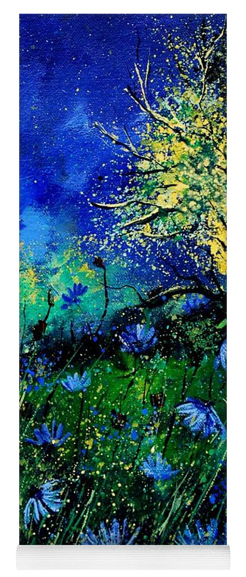 Poppies Yoga Mat featuring the painting Wild Chocoree by Pol Ledent