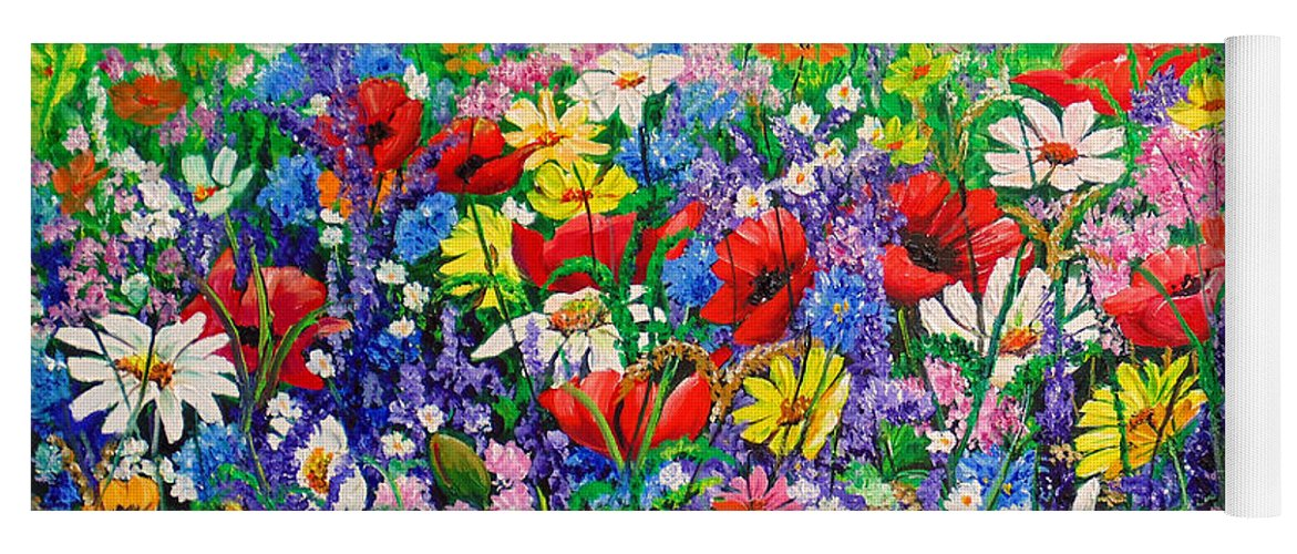 Wild Flowers Yoga Mat featuring the painting Wild Flower Meadow by Karin Dawn Kelshall- Best