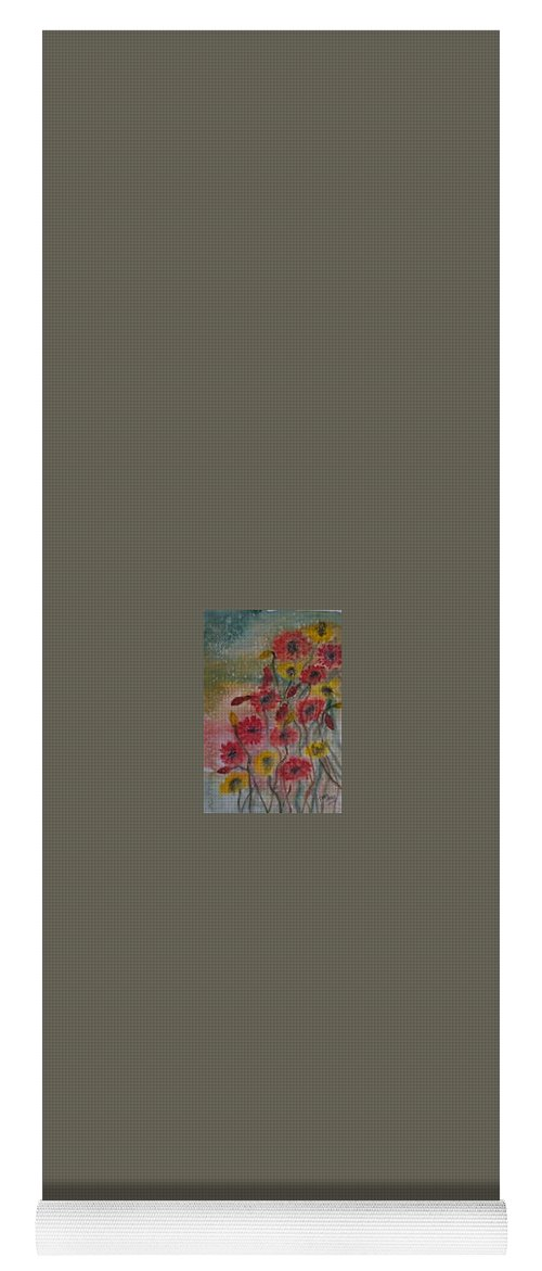 Watercolor Yoga Mat featuring the painting WILDFLOWERS still life modern print by Derek Mccrea