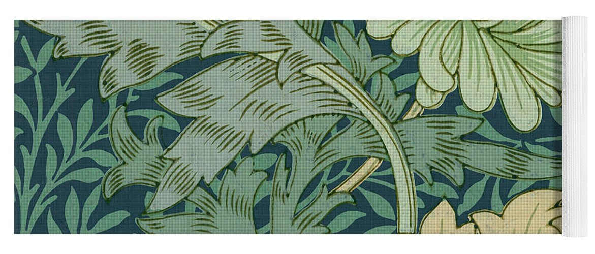 William Morris Wallpaper Sample With Chrysanthemum Yoga Mat