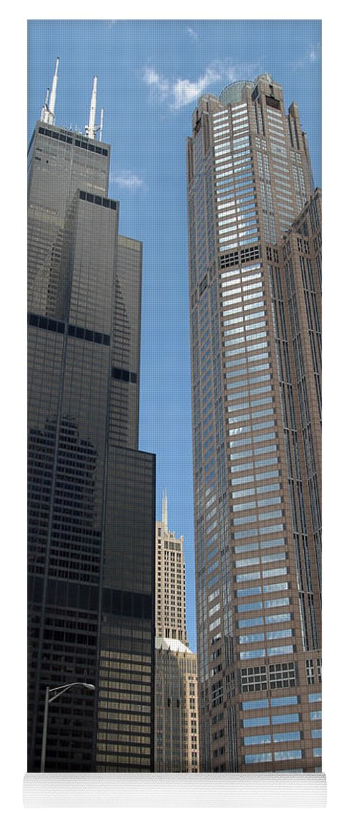 3scape Yoga Mat featuring the photograph Willis Tower aka Sears Tower and 311 South Wacker Drive by Adam Romanowicz