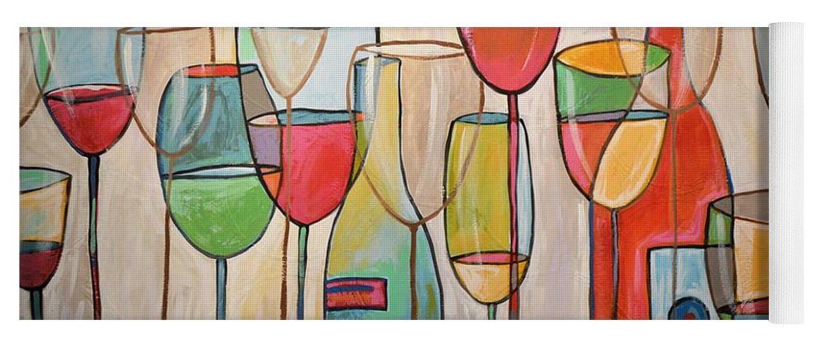 Wine Yoga Mat featuring the painting Wine Tasting by Amy Giacomelli