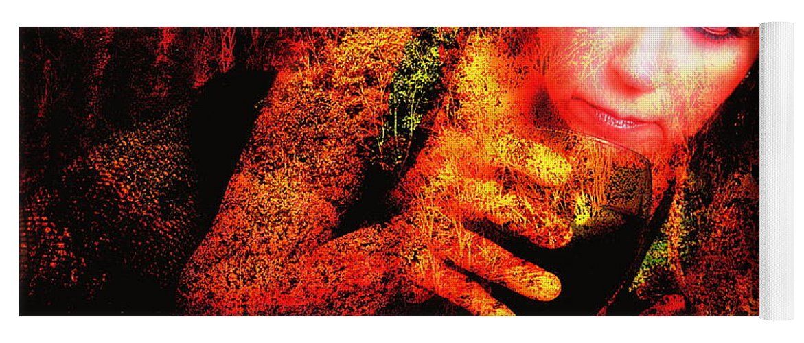 Clay Yoga Mat featuring the photograph Wine Woman And Fall Colors by Clayton Bruster