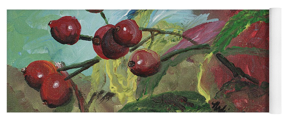 Berries Yoga Mat featuring the painting Winter Berries by Nadine Rippelmeyer