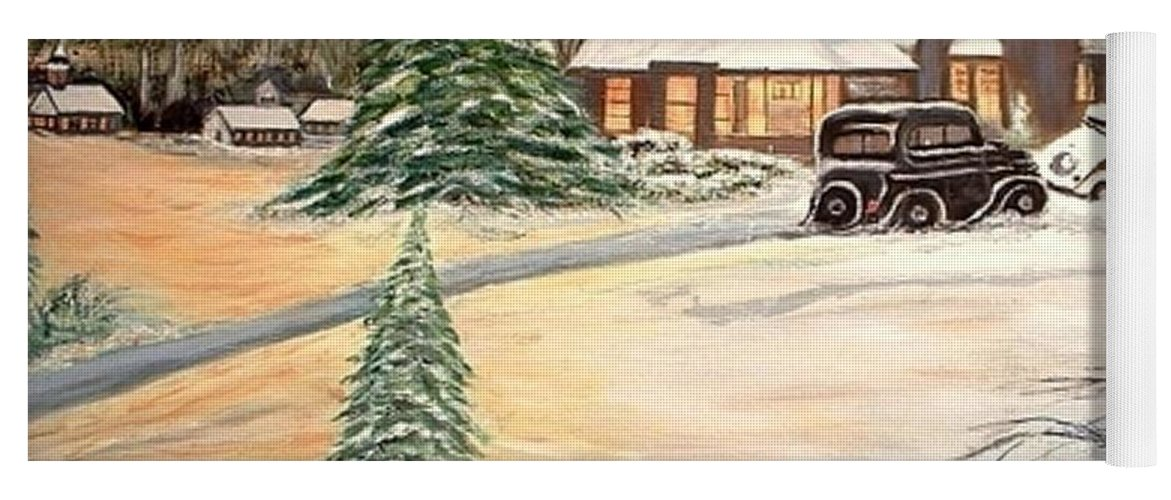 Landscape Home Trees Church Winter Yoga Mat featuring the painting Winter Home by Kenneth LePoidevin