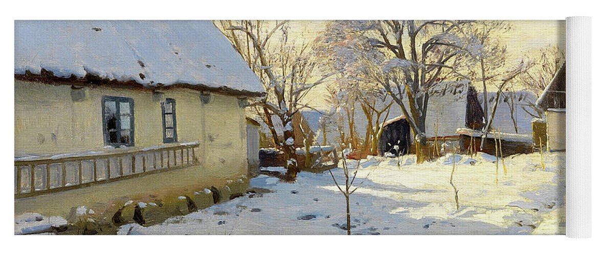 Peder Mork Monsted Yoga Mat featuring the painting Winter In Brondbyvester In Denmark by Peder Mork Monsted