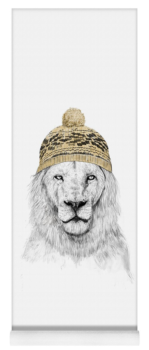 Lion Yoga Mat featuring the drawing Winter lion by Balazs Solti