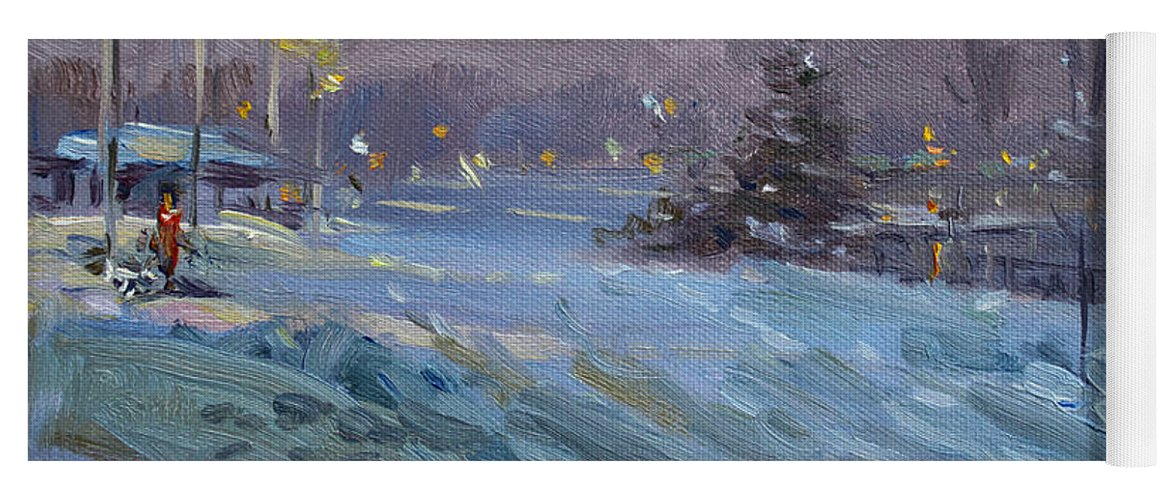 Winter Yoga Mat featuring the painting Winter Nocturne By Niagara River by Ylli Haruni