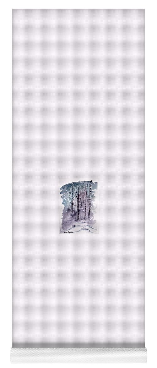 Watercolor Landscape Painting Yoga Mat featuring the painting WINTER snow landscape painting print by Derek Mccrea