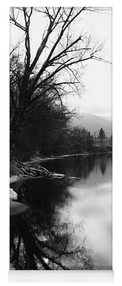 Black And White Yoga Mat featuring the photograph Winter Tree Reflection - Black and White by Carol Groenen
