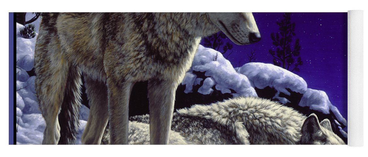 Wolf Yoga Mat featuring the painting Wolf Painting - Night Watch by Crista Forest