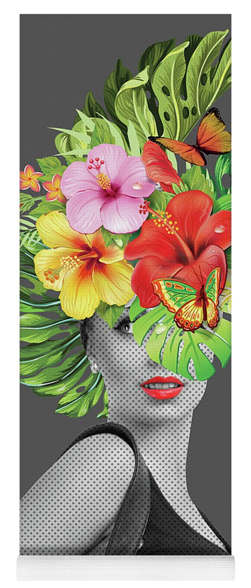Woman Yoga Mat featuring the photograph Woman Floral by Mark Ashkenazi