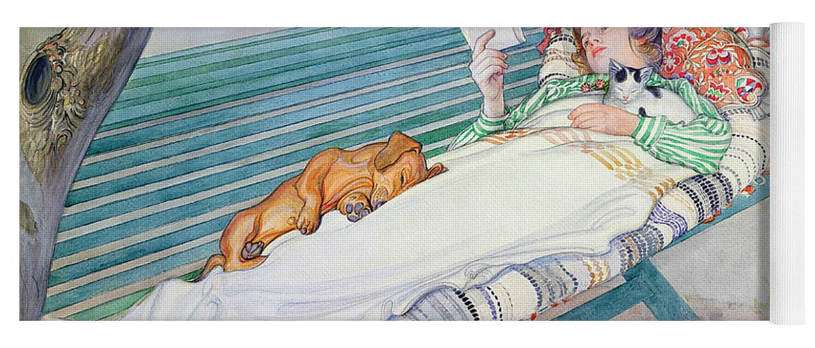 Woman Yoga Mat featuring the painting Woman Lying on a Bench by Carl Larsson