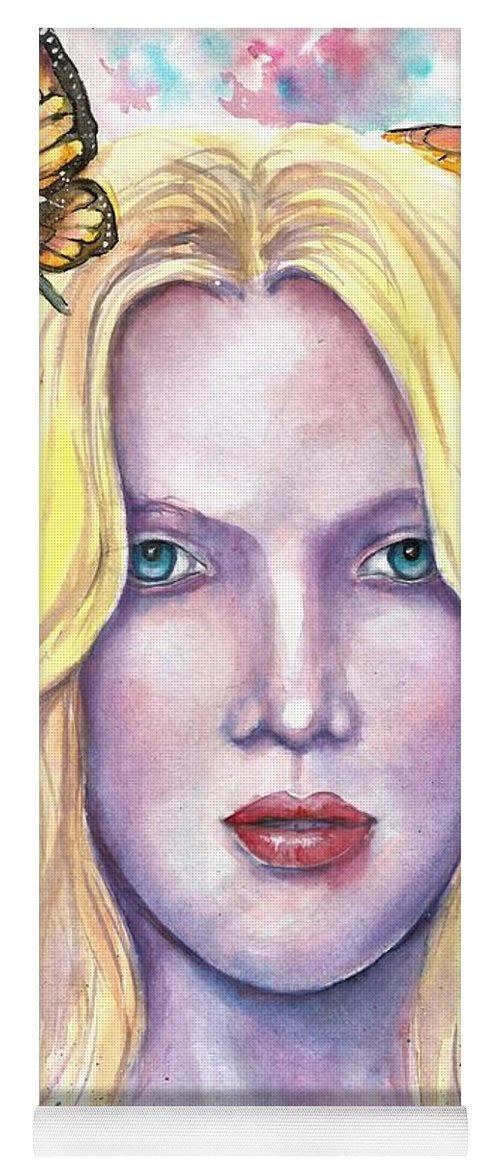 Original Painting Yoga Mat featuring the painting Women Face beauty by Natalja Picugina