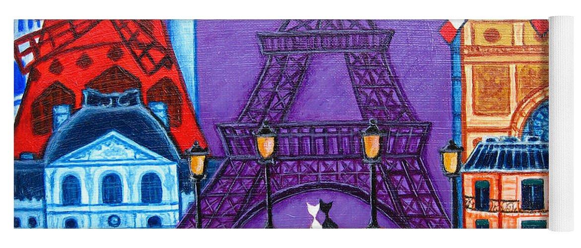 Paris Yoga Mat featuring the painting Wonders of Paris by Lisa Lorenz