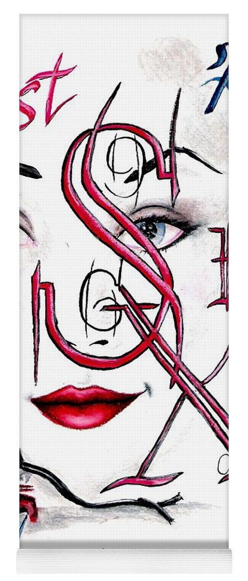 Erotic Yoga Mat featuring the drawing Words of the Dirty Mind by Scarlett Royal