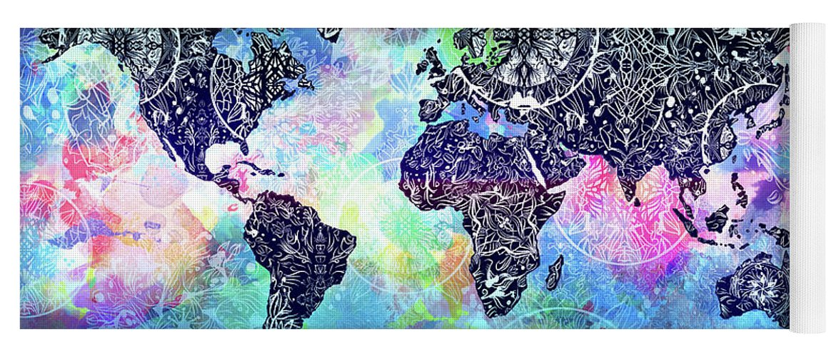 World map mandala watercolor yoga mat for sale by bekim art map of the world yoga mat featuring the digital art world map mandala watercolor by bekim gumiabroncs Gallery
