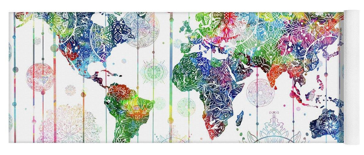 World Map Mandala White 1 Yoga Mat For Sale By Bekim Art