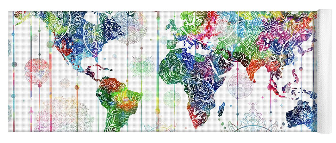 World Map Mandala White Yoga Mat For Sale By Bekim Art - Mandala map of the world