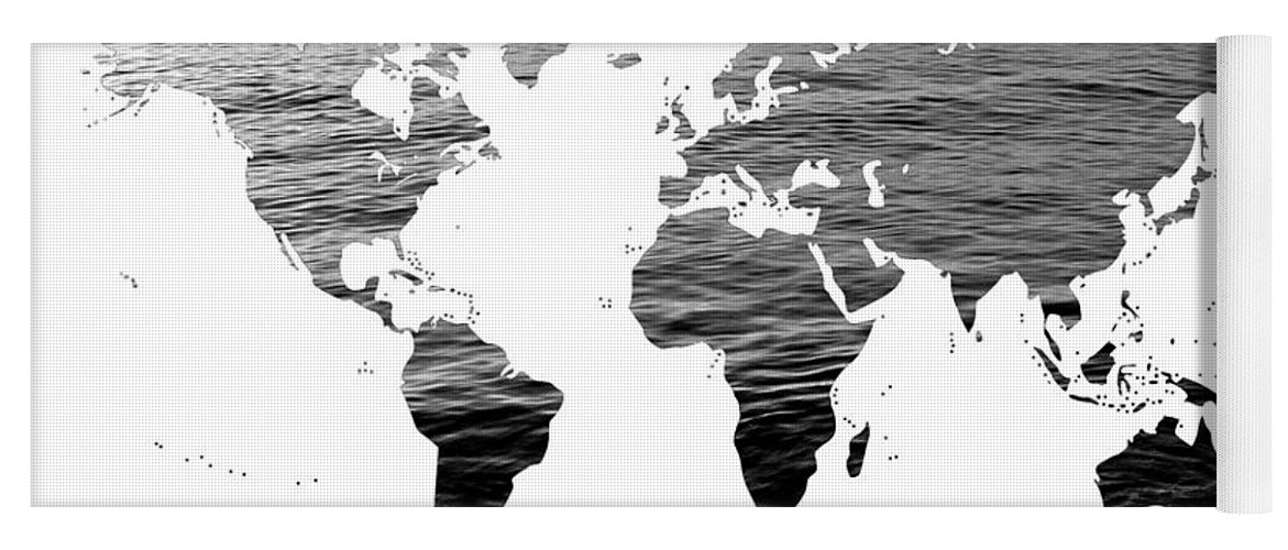 World map ocean texture black and white yoga mat for sale by world map yoga mat featuring the photograph world map ocean texture black and white gumiabroncs Gallery