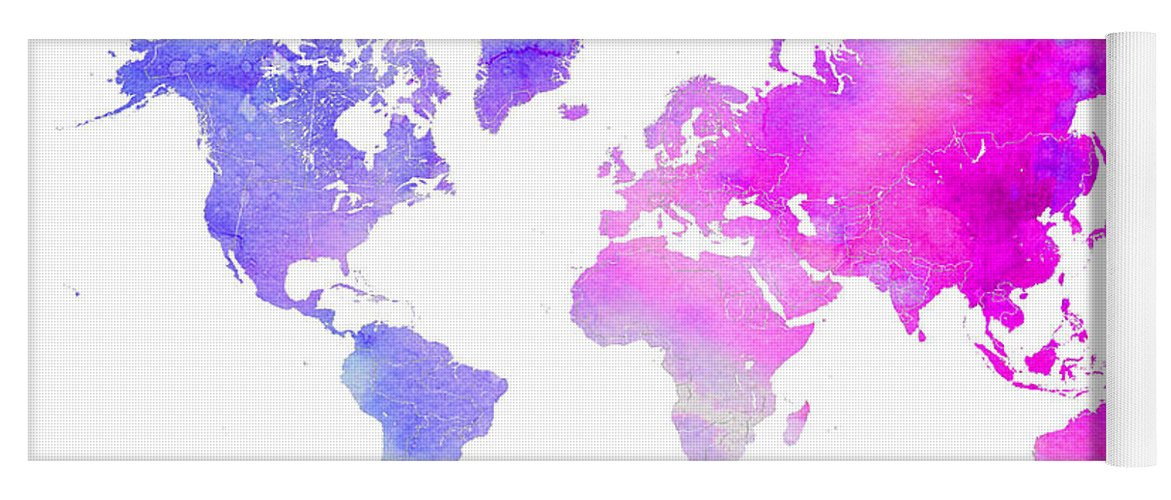 World map watercolor yoga mat for sale by edit voros world yoga mat featuring the digital art world map watercolor by edit voros gumiabroncs Gallery