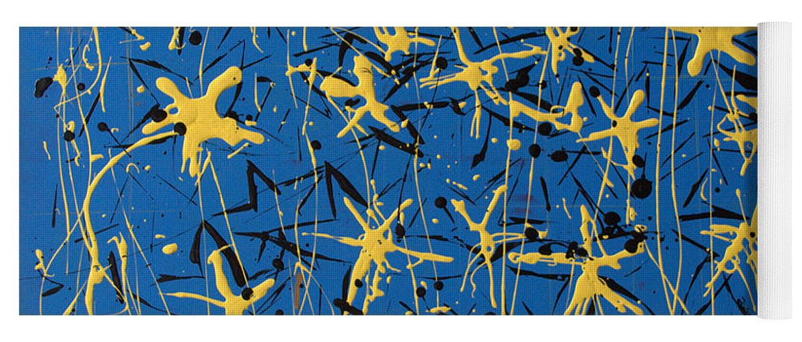 Abstract Painting Yoga Mat featuring the painting Yellow Blue by J R Seymour