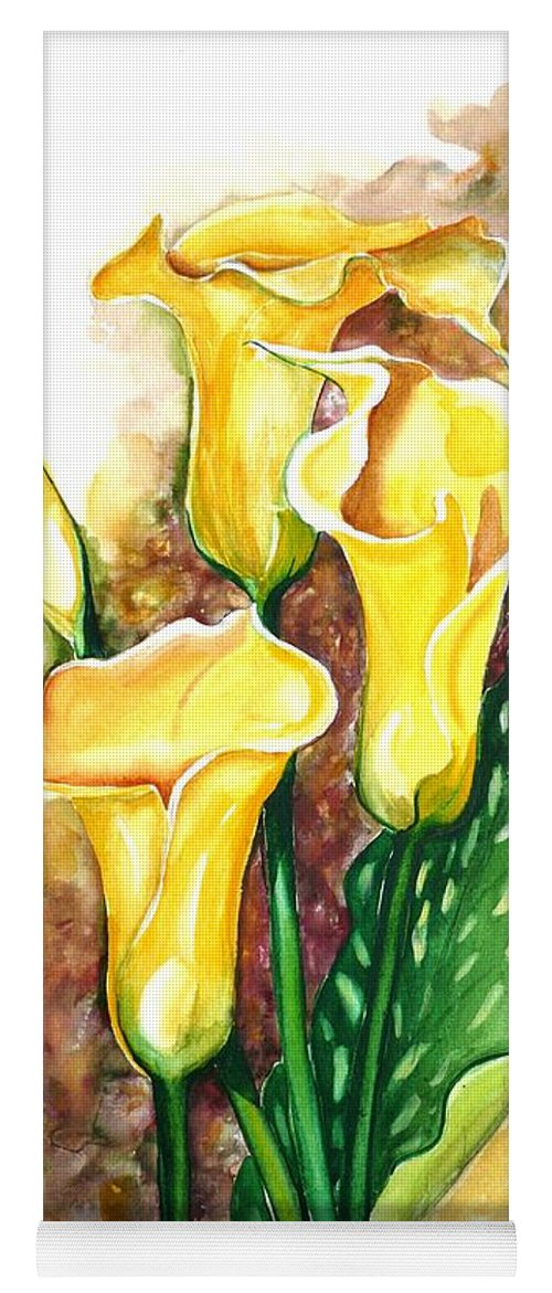 Flower Paintings Floral Paintings `yellow Flower Paintings  Lily Paintings Calla Lily Paintings  Botanical Paintings Greeting Card Paintings Canvas Print Paintings Poster Print Paintings Yoga Mat featuring the painting Yellow Callas by Karin Dawn Kelshall- Best