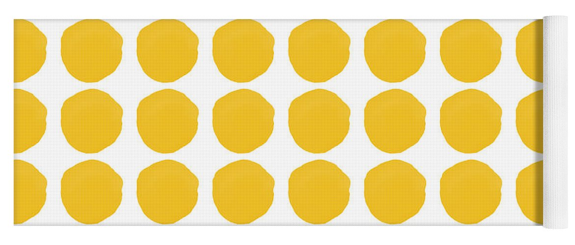 Yellow Yoga Mat featuring the mixed media Yellow Circles- Art By Linda Woods by Linda Woods