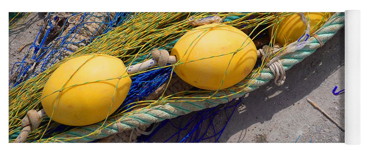 Fishing Net Yoga Mat featuring the photograph Yellow Floats by Charles Stuart