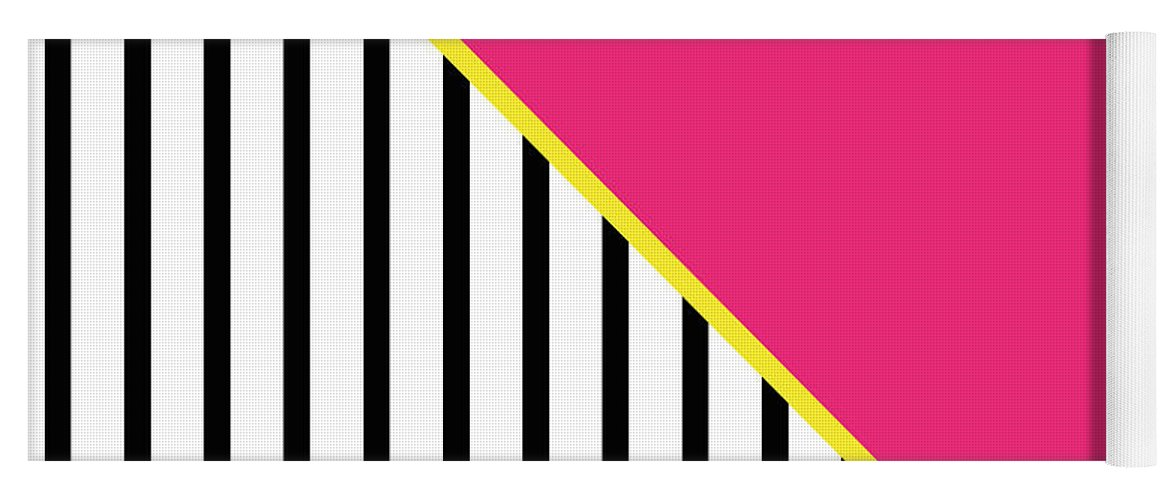 Pink Yoga Mat featuring the digital art Yellow Pink And Black Geometric 2 by Linda Woods