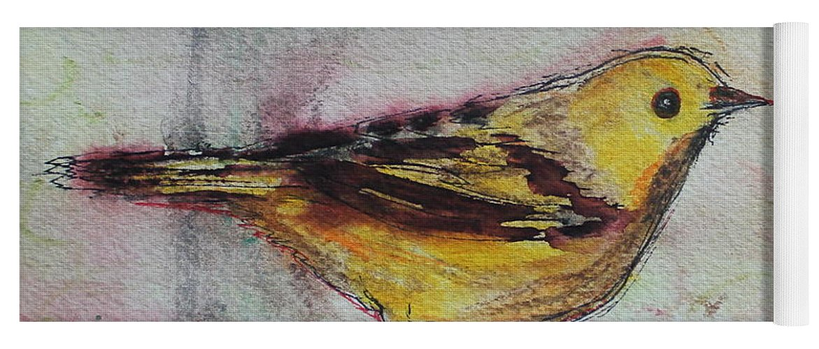 Songbird Yoga Mat featuring the painting Yellow Warbler by Ruth Kamenev