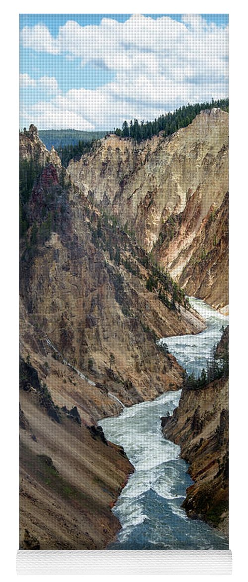 Canyon Yoga Mat featuring the photograph Yellowstone River Below Lower Falls 2P by Frank Madia