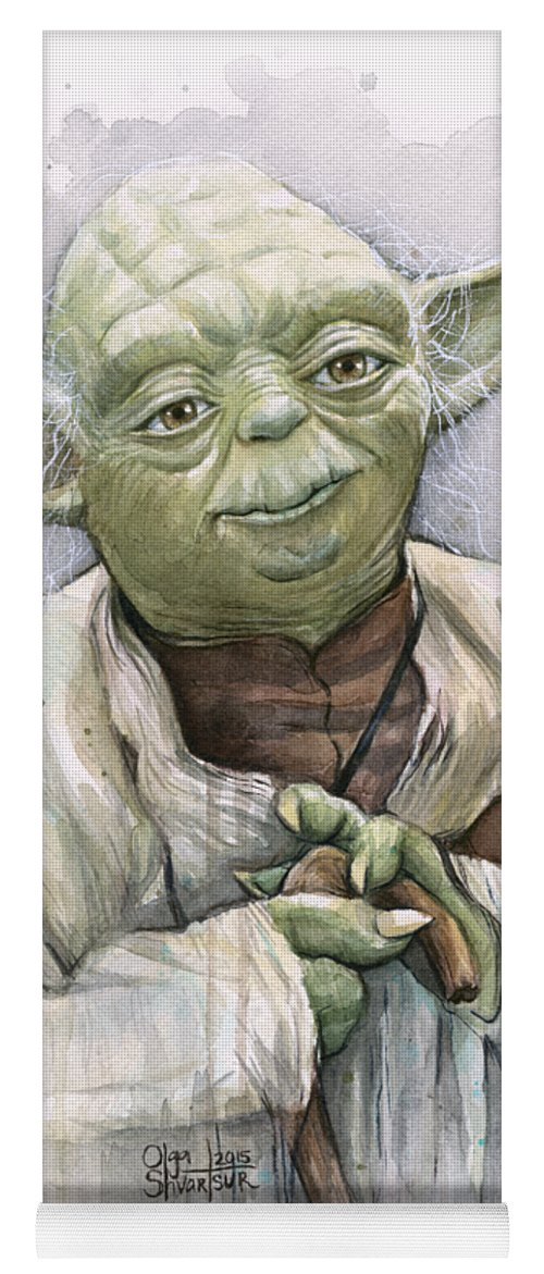 Yoda Yoga Mat featuring the painting Yoda by Olga Shvartsur