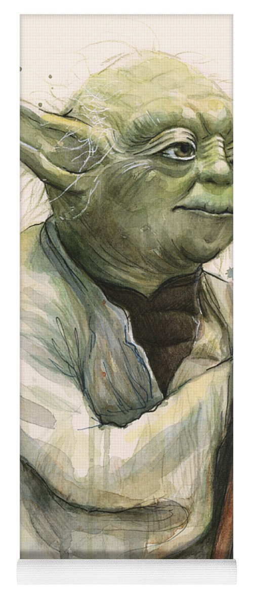 Yoda Yoga Mat featuring the painting Yoda Portrait by Olga Shvartsur