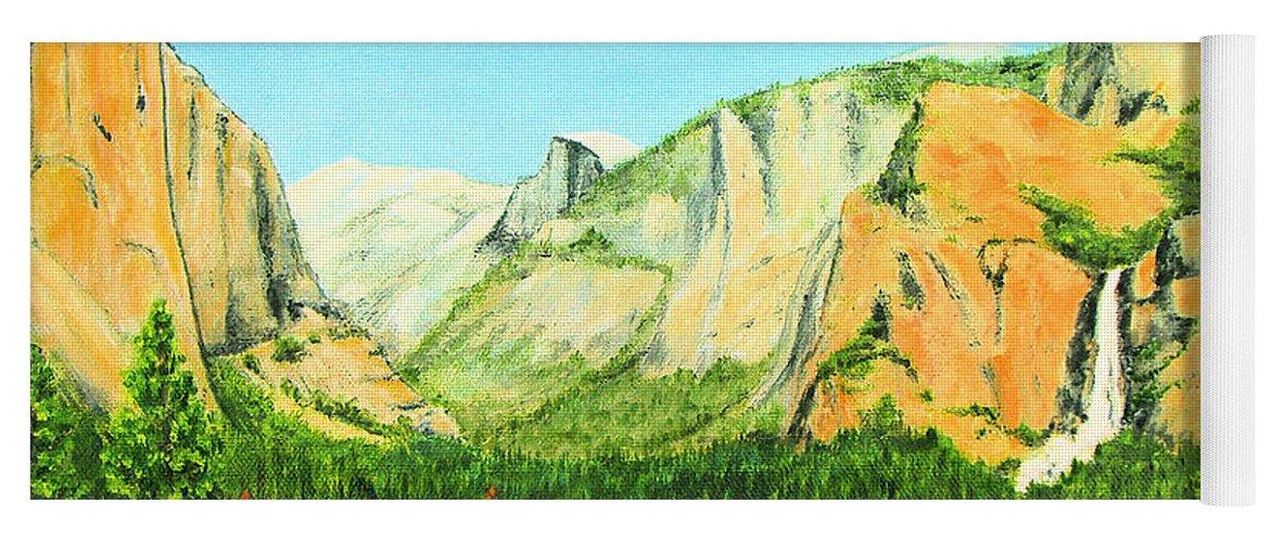 Yosemite National Park Yoga Mat featuring the painting Yosemite National Park by Jerome Stumphauzer