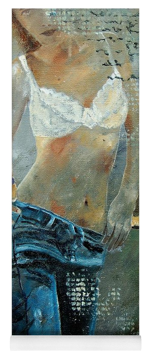 Girl Yoga Mat featuring the painting Young Girl In Jeans by Pol Ledent