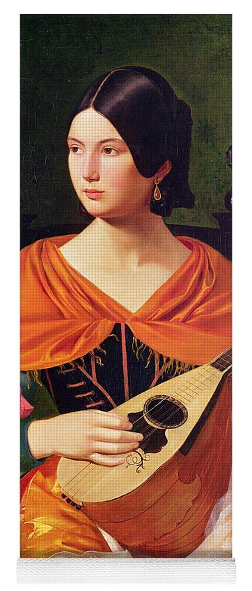 Young Woman With A Mandolin Yoga Mat featuring the painting Young Woman With A Mandolin by Vekoslav Karas