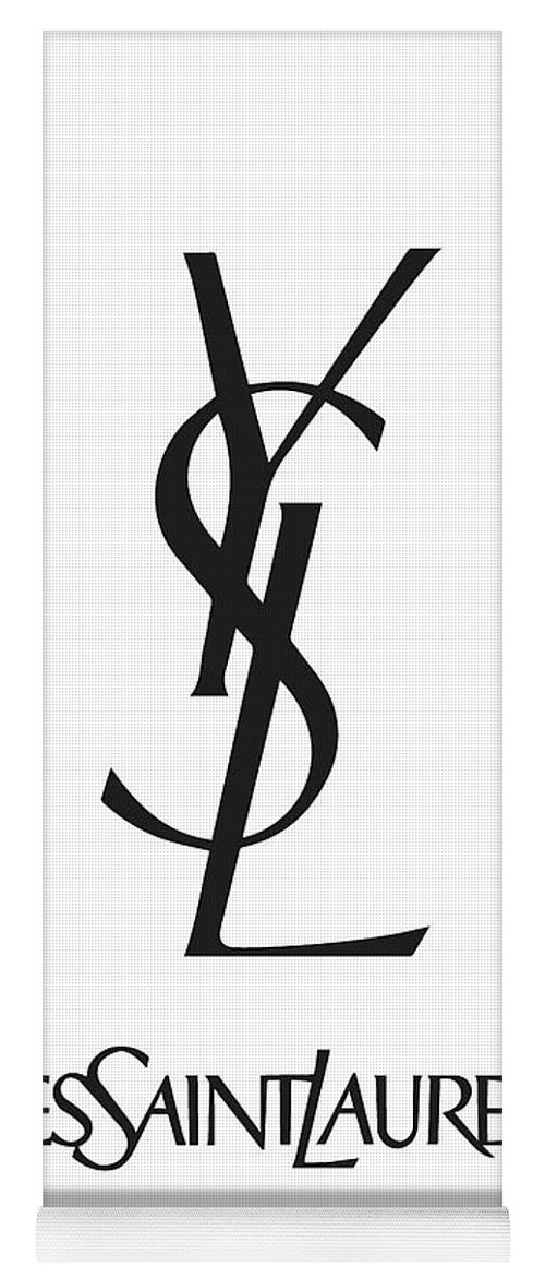 2311bc24 Yves Saint Laurent Yoga Mat featuring the digital art Yves Saint Laurent -  Ysl - Black