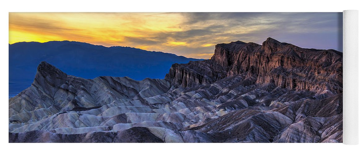 Adventure Yoga Mat featuring the photograph Zabriskie Point Sunset by Charles Dobbs